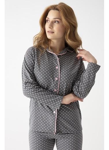 Pemilo Kadın 3764 Puantiyeli Önden Düğmeli Uzun Kol Pijama Takımı FÜME Füme